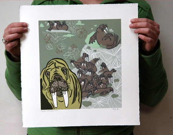 Original Woodcut about Walrus and Sea Ice