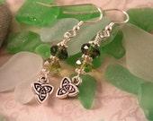 Celtic Charm Earrings, Irish Earrings, Green Czech Earrings