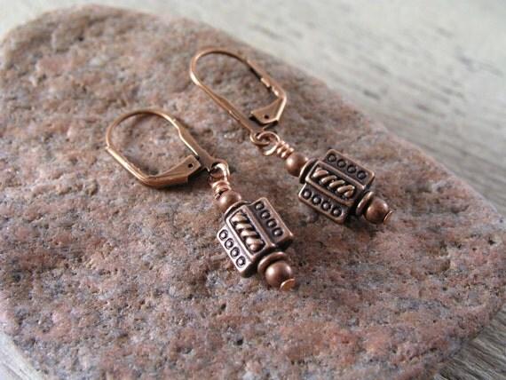 Copper Earrings, Dots and Rivets Earrings, Gift, Leverback Earrings