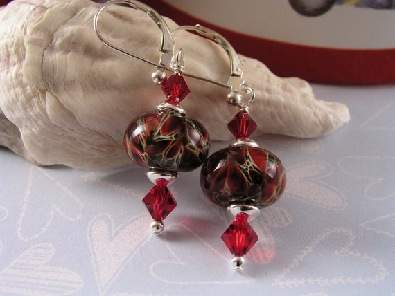 RED POINSETTIA EARRINGS...Artisan Lampwork, Swarovski, and Sterling Silver Earrings