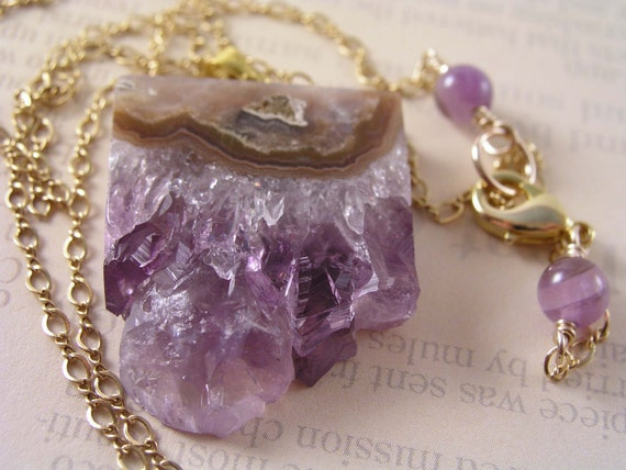 Amethyst Slice Necklace in Gold