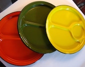 3 Enamel Plates Japan Vintage Yellow Orange Green