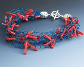 Crocheted Wire Bracelet With Red Corals