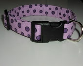 Fabric Dog or Puppy Collar, Girl or Boy Collar, Purple Dots, Modern Style