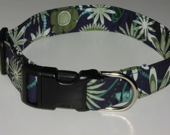 Navy Blue Fabric Dog Collar with Flowers