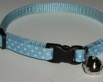 Kitten or Cat Break Away Collar - Blue and White Polka Dots