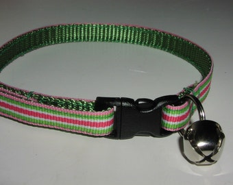 Kitten or Cat Collar - Bright Green and Hot Pink