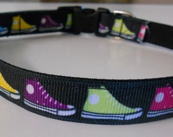 "Dog Collar - 5/8"" wide Multi-colored Sneakers"