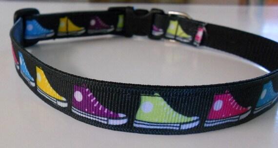 "Dog Collar - 5/8"" wide Multi-colored Sneakers"