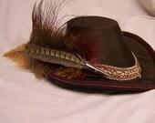 OOAK handmade elizabethan renaissance arch brim hat in brown silk with burgundy accents