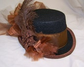 OOAK victorian steampunk riding hat full size TOP HAT cosplay Costume black with copper/brown band