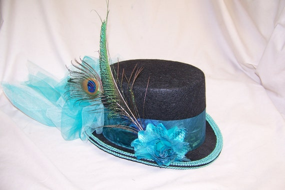 OOAK victorian steampunk riding hat full size TOP HAT cosplay Costume black with turquoise band and peacock feathers