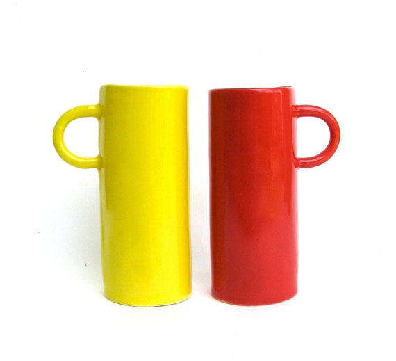 tea for two   .....  hand built whimsical festive yellow and red cups