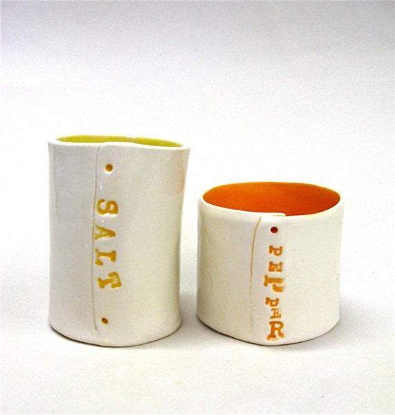 hand built porcelain salt and pepper cellars ... vessels ... pots