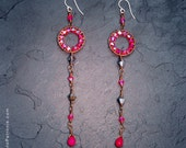 Long hot pink earrings with swarovski and gemstones - SUGAR CANDY DROPS -