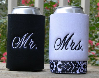 Classy Monogrammed Mr. and Mrs. wedding cozies.  10 ribbon colors to choose from.