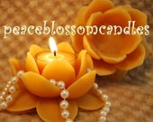 Pure Beeswax Lotus Flower Candle Holder with 2 Tealights Infinitely Reuseable