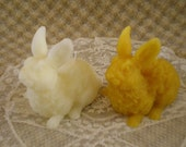 Pure Beeswax Molded Rabbit Candle White or Natural
