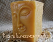 Beeswax Candle Square Buddha Head Pillar in Pure Oregon Beeswax