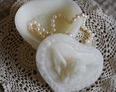 Pure Beeswax Trinket Jewelry Treasure Box in White