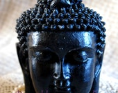 Beeswax Candle BIG Buddha Head Sadhana Meditation Contemplation Altar Candle in BLACK