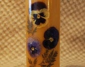 Beeswax  Candle Pillar Natural Color Decorated with Dried Flowers 9 inches tall