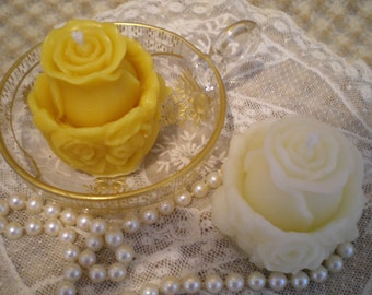 Beeswax Candles PAIR Hand Sculpted Rosebud Pure Beeswax Votive Candles White or Natural