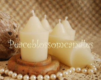 Natural Pure Beeswax Large Votive Candles Set of 6 in WHITE