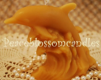 Pure Beeswax Leaping Dolphin Candle