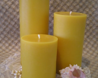 Beeswax Candle Plain Pillar Natural Gold Color 4 inches tall