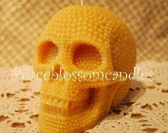Beeswax Candle Pearl Covered BIG Skull Natural Gold Color
