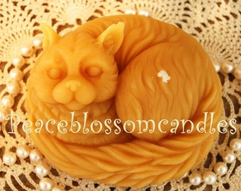 Beeswax Candle Adorable Pure Beeswax Kitty Cat Candle