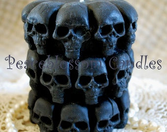 Pure Beeswax Embellished Skull Pillar Candle in BLACK