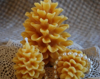 Beeswax Candles Pine Cone Shaped Candle Set of Three