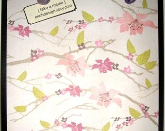 Blossoms.. Magnet Dry Erase Steel Memo Board / Housewarming Friend Gift / Office Decor / Organization / Wall Decor / Desk / Message Board