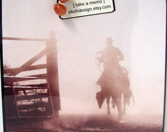Misty Morning in Sienna.. Magnet Dry Erase Memo Board / Desk / Housewarming Gift / Office Decor / Organization / Message Board / Cowboy