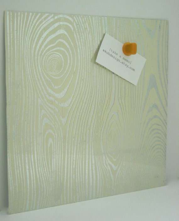Cream Faux Bois Wood Steel Memo Magnet Dry Erase Board