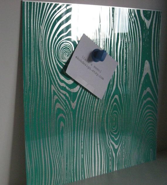Teal Faux Bois Wood Steel Memo Magnet Dry Erase Board