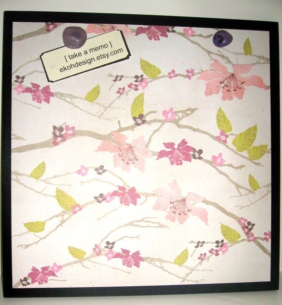 Blossoms.. Magnet Dry Erase Steel Memo Board / Housewarming Friend Gift / Office Decor / Organization / Wall Decor / Desk / Message Board