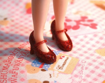 Blythe Red with Red Glitter High Heeled Mary Jane shoes