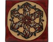"Celtic Knot Tile Snowflake Design 4"" Red"