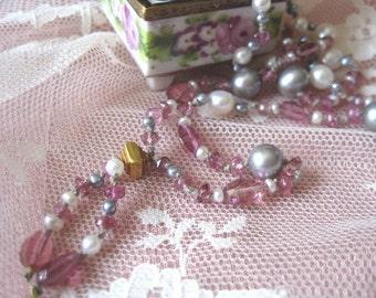 SALE Natural Pink Tourmaline Tassel Baroque Blue and White Cultured Pearl Necklace,Delicate Feminine Tassel Gemstone Art Deco Choker 0945