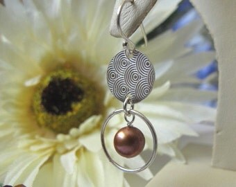 SALE,Earthy Brown Pearl Dangle Earrings,Etched Sterling Silver Circle Disc Modern Dangle Pearl Earrings,Chocolate Brown Pearl Earrings,118