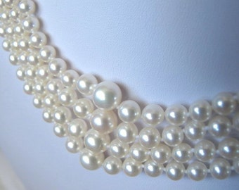 Graduated Akoya Sea Pearl Choker Necklace,Bridal Necklace,Four Multi Strand Choker, High Luster Japanese Cultured Pearl Statement Necklace,