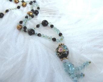 SALE 1920s Style Italian Art Glass Tassel Aquamarine Gemstone Necklace,Vintage Venetian Glass,Unique Artist Necklace,1920s Art Deco,9219