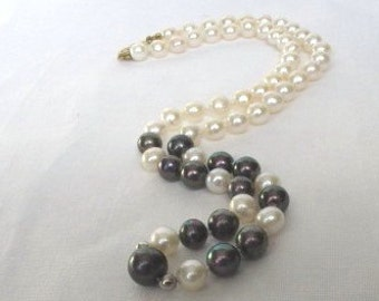 SALE Black and White Sea Pearl Choker Necklace,Cultured Pearl Necklace,Akoya Pearl Necklace,White Pearl Necklace,Classic, Bridal Jewelry,263