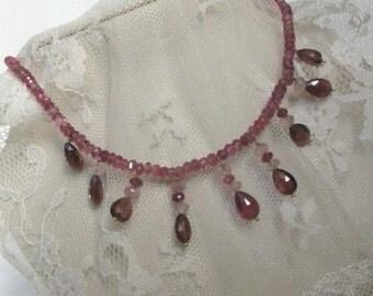 Sale Beautiful Natural Soft Pink Burgandy Tourmaline Choker Necklace,Rare Elegant Gemstone Tear drop Victorian 1920s Style Handmade Necklace
