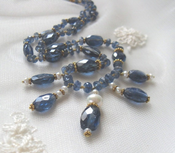 Holiday SALE, Royal Blue Kyanite Gemstone Choker Necklace,Elegant Drop Holiday Pearl Necklace,Handmade One of A Kind Designer Necklace 9047