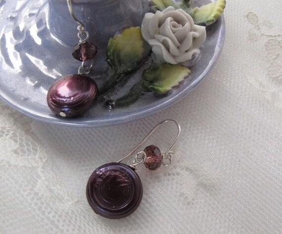 SALE, Purple Keshi Pearl Dangle Earrings, Round Disc Shape Pearl Earrings, Coin Pearl Drop Simple Drop Fashion Pearl Handmade Earrings, 8127