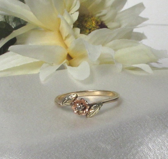 Rose Vintage Gold Ring Rose Gold Ring Diamond Ring Black